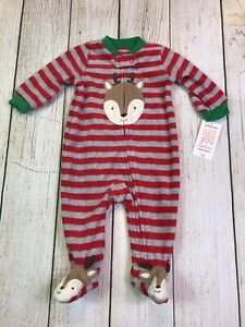 Baby-Boy-Carters-Red-Stripe-Reindeer-Christmas-Holiday-Fleece-Footed-Pajamas-3M