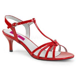 4d8a61f44775 Pleaser KITTEN-06 Womens Red Patent Kitten Heel T-Strap Sandal ...