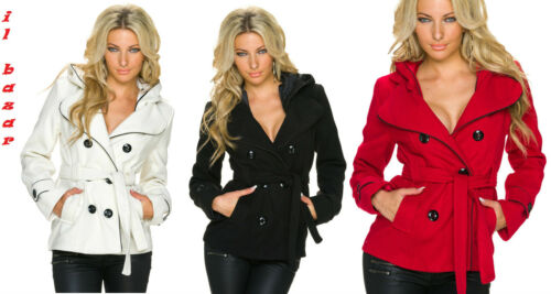 cappotto corto in panno foderato con cappuccio /& cintura 3 colori tg S,M,L