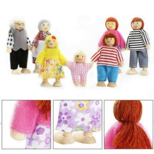 7pcs Dolls House Family of 7 People Miniature Happy Family Doll Figures Playset