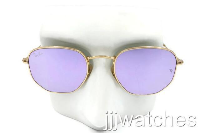 a3b0b9cab3 Ray Ban Round Hexagonal FLAT Lenses Lilac Gold Sunglasses RB3548N 001 80 48   178