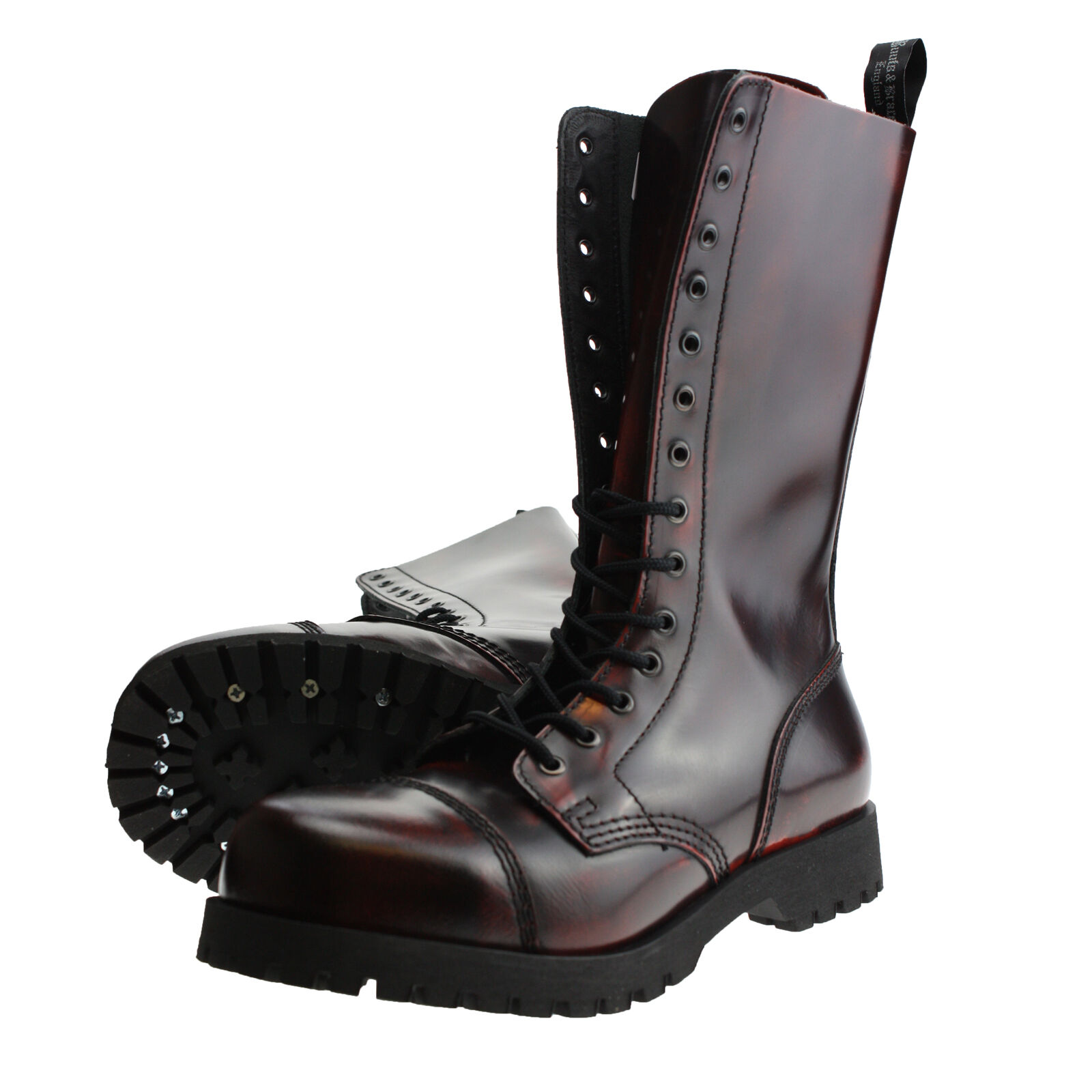 e35f893e3b5 Boots and braces 14 agujeros Burgundy Rub-off Springer botas Rangers rojo  negro