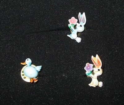 Vintage Easter Lapel/Tack Pin, Small Enamel Bunnies & Bird, 1/2 inch lot of 3