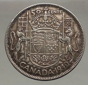 1940 Canada King George Vi Of Britain Silver 50 Cent Coin Coat Of Arms I56629 Ebay