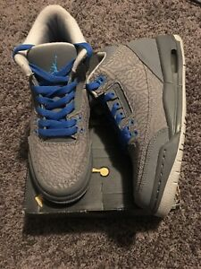 4006bd636c74 Nike Air Jordan Retro III 3 Flip Cool Grey Blue Glow GS Elephant ...