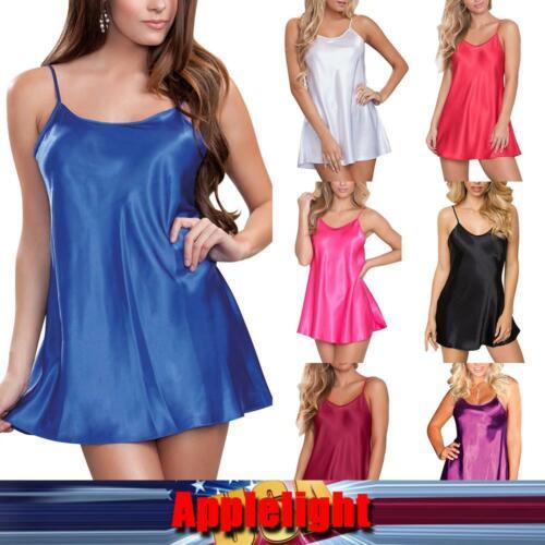 Details about  /US Women Silk Lingerie Dress Nightie Robe Nightwear Pyjamas Sleepwear Nightdress