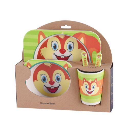 5 Set Bamboo Fiber Baby Plate Bowl Cup Forks Spoon Kids Food Feeding Tableware