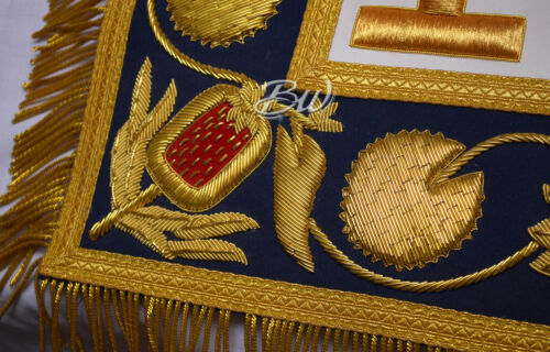 Provincial Grand Master's Apron Masonic Regalia Blue//Gold Taus Zeek Embroidered