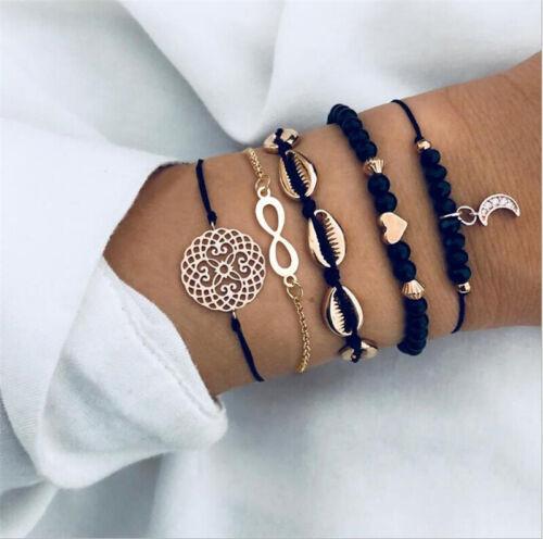 5Pcs//Set Women Stylish Alloy Shell Moon Heart Weave Rope Beaded Bangle Bracelet