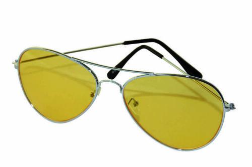 Notte Guida Occhiali CROMO-telaio con GIALLA LENTI Night Glasses