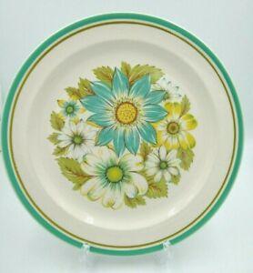 "Noritake Craftone BLUE SKY 8760 Chop Plate 12"" Round  Aqua, Green Bands, Floral"