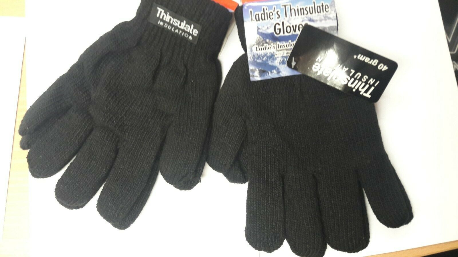LADIES THERMAL GLOVES-INSULATED GLOVES- THERMAL LINED HEAVY KNIT GLOVE 40 GRAM