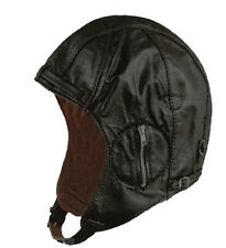 Black Deluxe Leather Aviator Pilot Motorcycle Cap Vintage WWII Style Hat OSFA