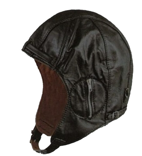 11827e8b8cc Black Deluxe Leather Aviator Pilot Motorcycle Cap Vintage WWII Style ...
