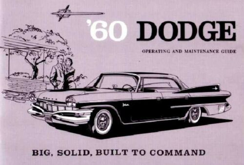 1960 Dodge Owners Manual User Guide Reference Operator Book Fuses Fluids OEM