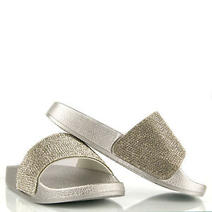 4fb691ee1 Silver Women Ladies Sliders Sandals Slip On Glitter diamante sparkly ...