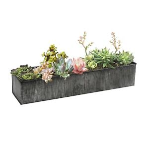 Window-box-Flower-box-Iron-Gery-Metal-Rectangle-Planter-Decor-box-5-Sizes