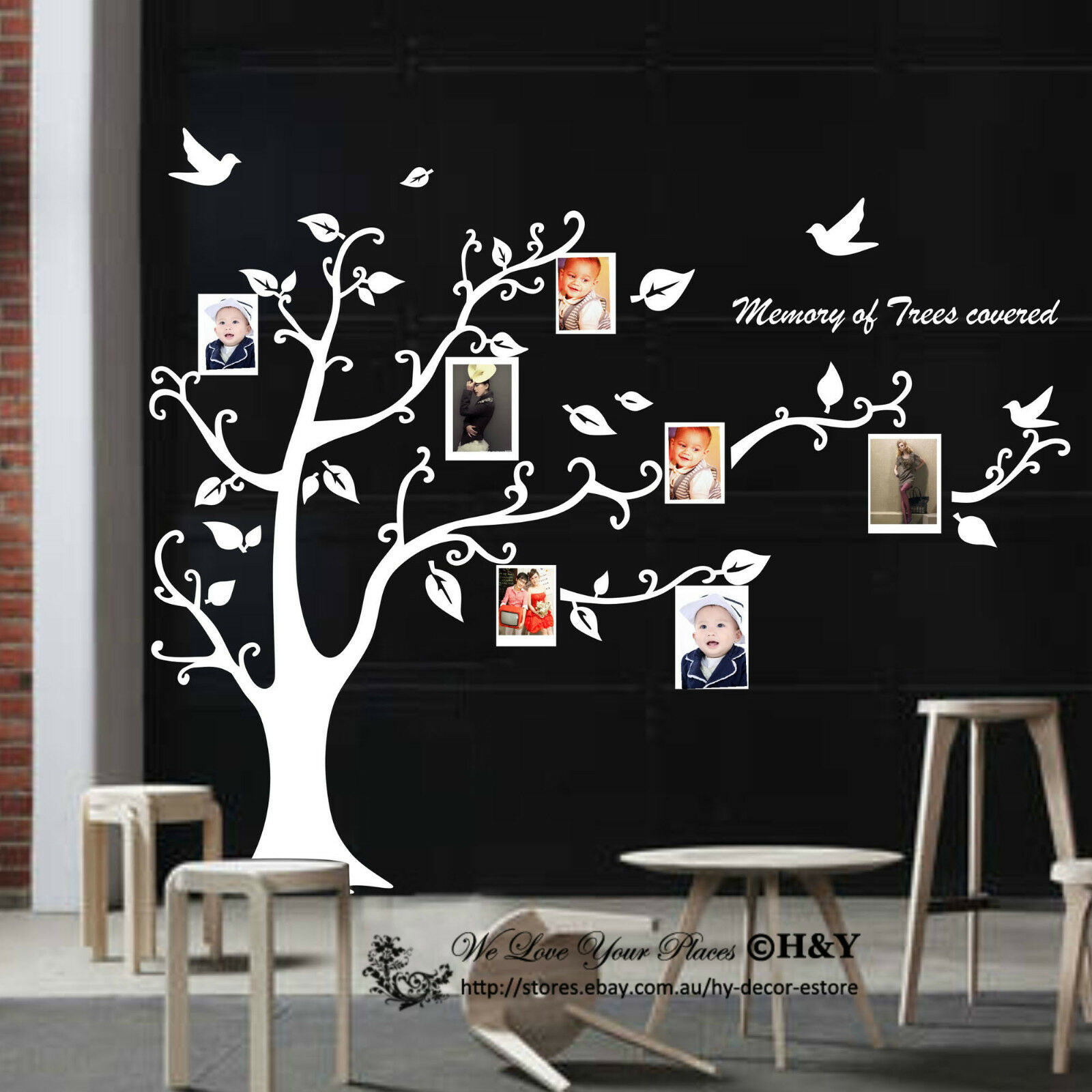 photo picture tree frame set wall art stickers vinyl decals mural size large h 115 cm x w 130 cm typesetting w 60 x h 120 cm
