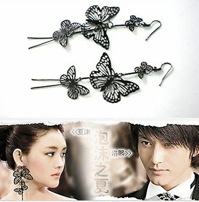 E1108 CUTE 3Tier Big Butterfly Long Dangle Earrings BLACK