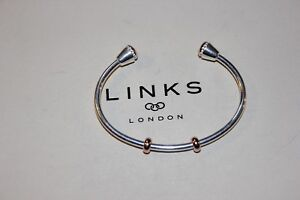 GENUINE LINKS OF LONDON 925 SILVER 18KT RGV ASCOT AMULET CHARM CUFF - GIFT BOXED