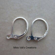 24 silver plated leverback ear wires 13mm lead nickel cadmium free