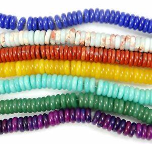 Natural-red-jasper-lapis-lazuli-Smooth-Tyre-Wheel-Loose-Gemstone-Beads-8-3MM