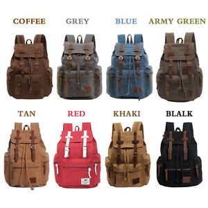 Men s Canvas Leather Backpack Rucksack Camping School Book Travel ... ee834d6557