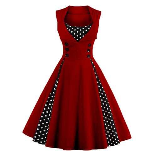 Women 50s 60s Vintage Pinup Swing Evening Party Rockabilly Casual Work Dresses