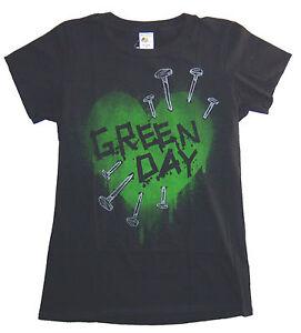 Green-Day-Love-Nails-Heart-Girls-Juniors-Black-T-Shirt-New-Official