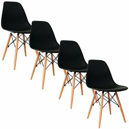 4er noir chaise deco design salon chaise Retro chaises de salle à manger Chairs