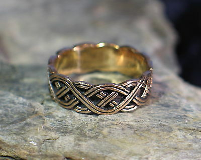 "Ring BRONZE Medieval Viking celtic knots Scandinavian "" Northman """