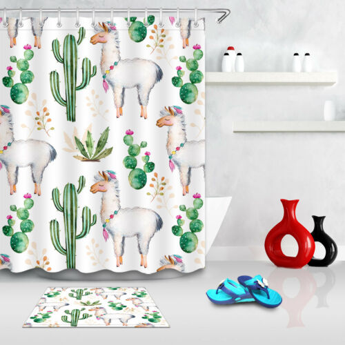 Alpaca and Cactus Shower Curtain Set Summer Bathroom Fabric Curtains Liner 180CM