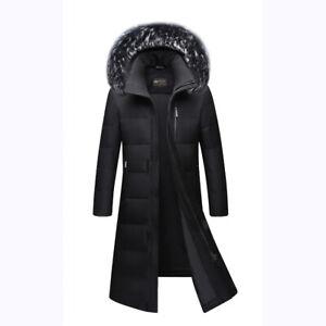 Winter-Mens-Long-Puffer-Warm-Hooded-Parka-Duck-Down-Jacket-Coat-Fur-Collar-Thick