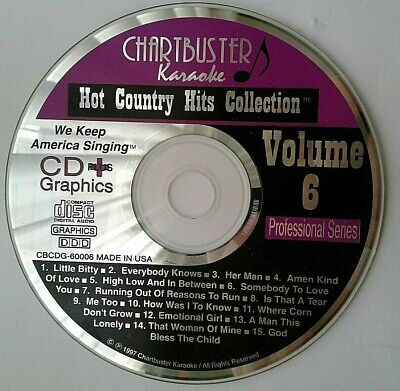 "Karaoke Cdgs, Dvds & Media Chartbuster Cb-60006 Karaoke Cdg ""country Hits"" ""pre-owned"" To Have A Long Historical Standing"