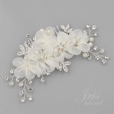 Bridal Hair Comb White Silk Flower