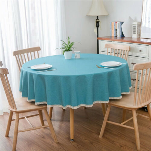 Round Colorful Table Cloth Cotton Linen Wedding Garden Dining Tableware*