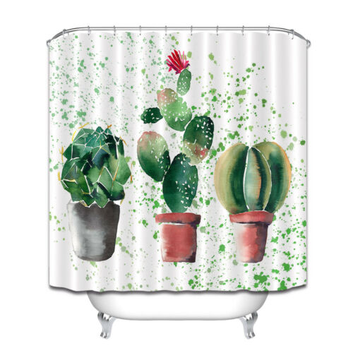 Fabric Shower Curtain Liner Watercolor Beautiful Floral Herbal Colorful Cactus