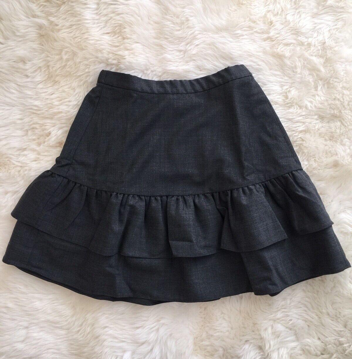 New J Crew Wool Flannel Ruffle Office Skirt Heather Charcoal Grey Sz 2 G7119