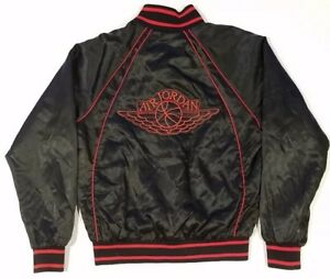 92969f77f8b3 Vintage 80s Nike Air Jordan Wings Satin Jacket Black Rare Grail Size ...