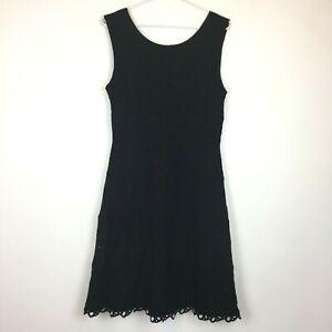 Jacqui-E-Womens-Black-Lace-Flower-Pattern-Sleeveless-Lined-Dress-Size-12