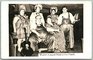 WORLD-039-S-LARGEST-MUSICAL-FAT-FAMILY-ANTIQUE-REAL-PHOTO-POSTCARD-RPPC-FATTEST-BAND