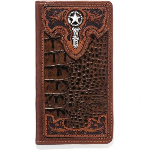 Silver Creek Western Mens Wallet Leather Croc Print Overlay Star Brown E80524