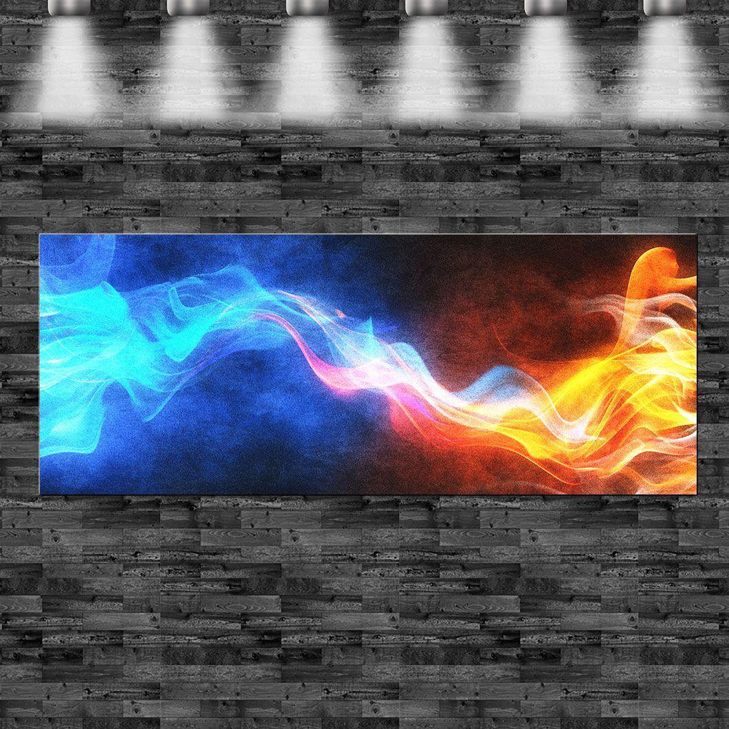 XXL Flammen blau und rot 160cm x 60cm auf Leinwand Keilrahmen Loft Bild heiß Pop