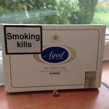 Vintage WHITE Wooden DUNHILL Aged Cigars 10 Caletas Cigar Box Dominican Republic