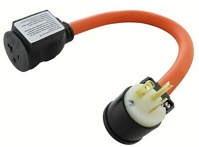 20 Amp NEMA 5-20P to NEMA L5-20R Industrial Power Tool Adapter by AC WORKS®