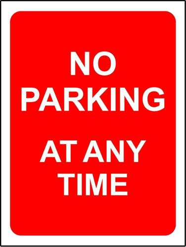 No parking at any time safety sign