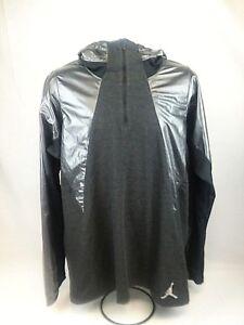 a27cb234fbe1e Nike Air Jordan Stay Warm Fitted Shield Hoodie Gray Black 689802 010 ...