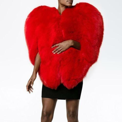 Furry Shaped Cape Baggy Fox Heart Fur 3d Kvinder Red Outdoor Jacket Coat Love Faux Rwq1vt6p