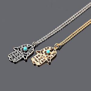 Sweater-Chain-Hamsa-Hand-Of-Fatima-Turquoise-Pendant-Necklace-Charm-JewelryPTH
