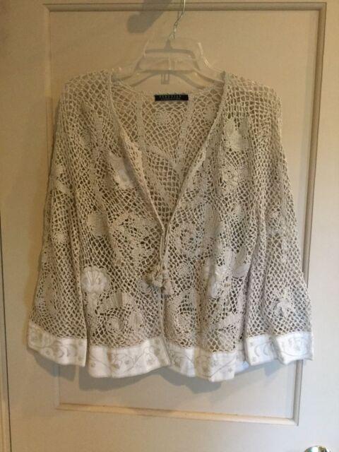 Peruvian Connection Pima Cotton/Linen Crochet Top-3/4 Sleeve Sz L.      *1127